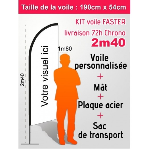Voile FASTER 72 heures 2m40